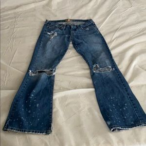 Old school A&F distressed flares